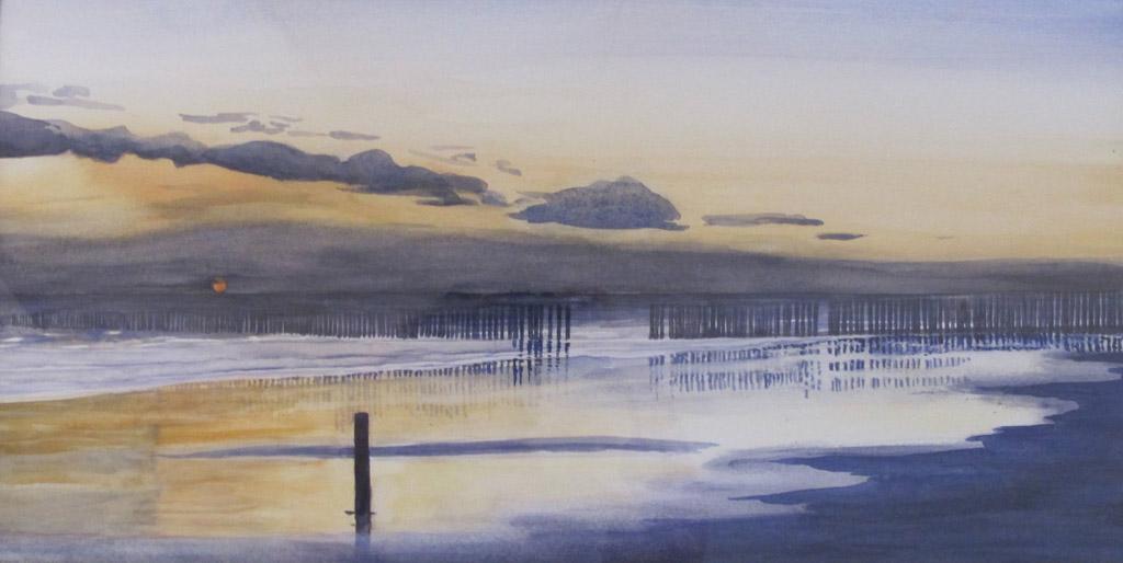 Arienne Molenaar - Schilderijen - Z2 - Zonsondergang bij Zoutelande - Z2