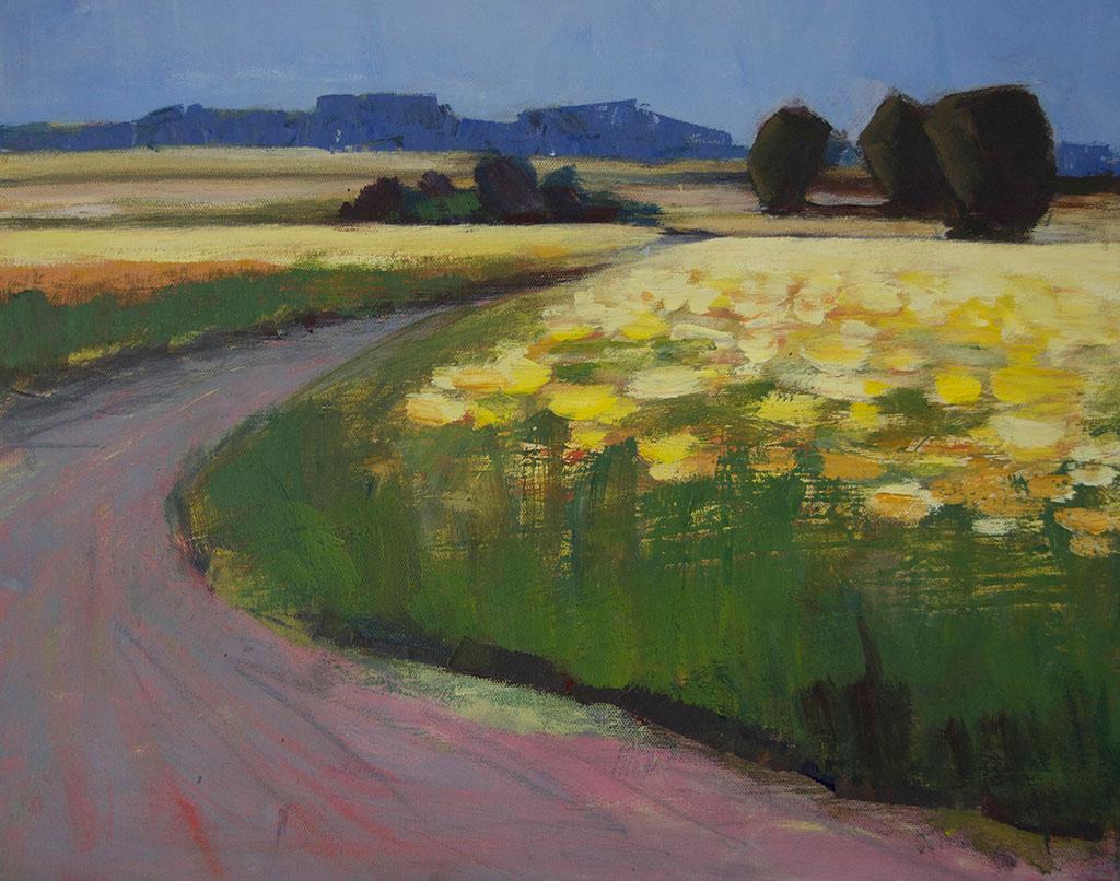 Arienne Molenaar - Schilderijen - F13 - Zonnenbloemenveld in de Gard