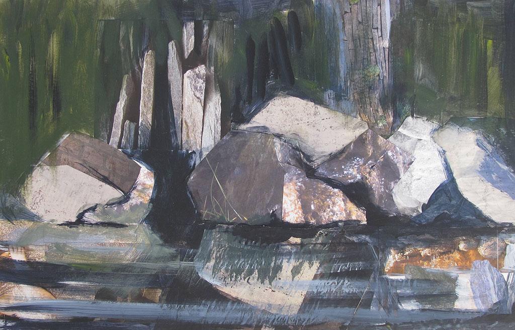 Arienne Molenaar - Schilderijen - F3 - Rotsen in de rivier de Ceze