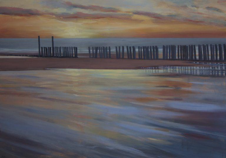 Arienne Molenaar - Schilderijen - Z15 - Eb bij avond