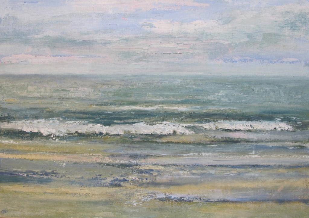 Arienne Molenaar - Schilderijen - Z5 - Zeegezicht in groen